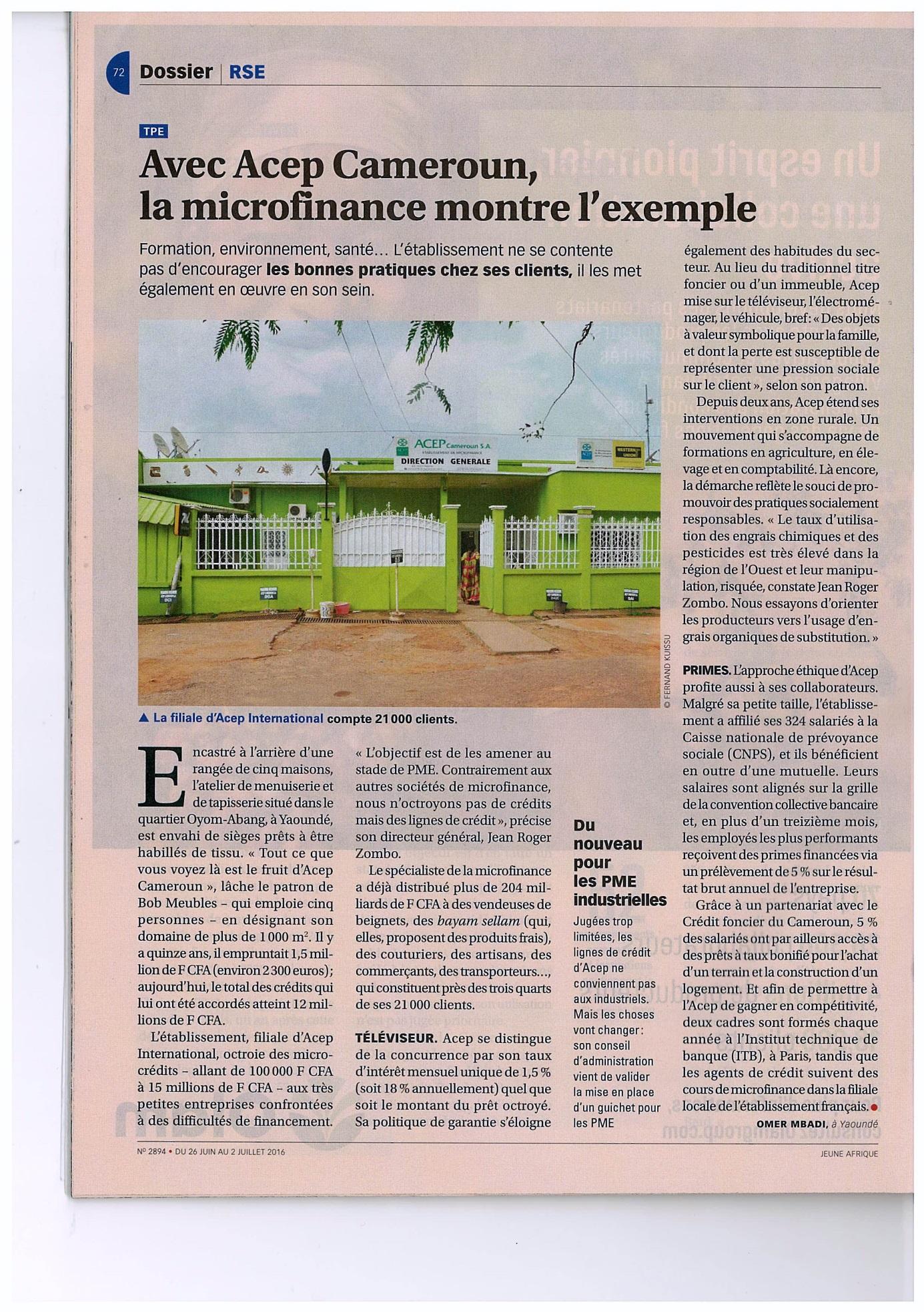 Jeune Afrique Publie Un Article Sur Acep Cameroun